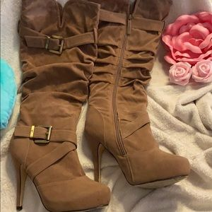Shiekh velvet feel caramel ruched fabric boots